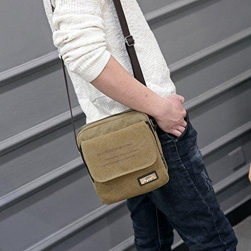 Super modernes Herren Kleine Vintage Canvas Messenger Bag Cross-Body-Tasche Pack Organizer Umhängetasche Mini 4. Sling Umhängetasche khaki JGxyTd7BIV