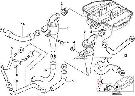 Left Oil Separator Hose Top of Oil Separator 11151406953 Fits BMW E39 M5 Z8
