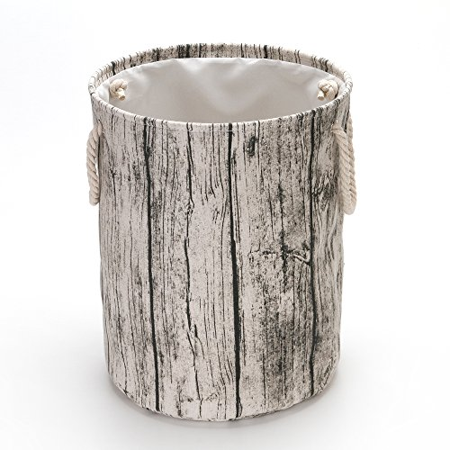 ood Grain Canvas & Linen Fabric Laundry Hamper Storage Basket with Rope Handles ()