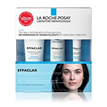 La Roche-Posay effaclar 3 step system medicated gel cleanser + clarifying solution + acne treatment 1 count
