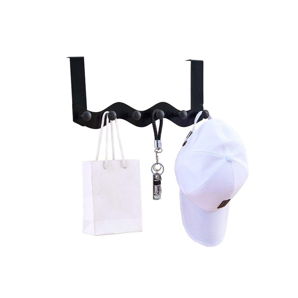 Chenjinxiang01 Hanger, Door Hanger, Door Hook Free Punching Rack, Metal Hanger for Home Office (White) (Color : Black)