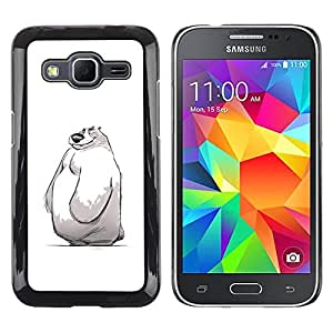 Be Good Phone Accessory // Dura Cáscara cubierta Protectora Caso Carcasa Funda de Protección para Samsung Galaxy Core Prime SM-G360 // cute kids sketch white winter polar bear