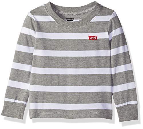 Levi's Baby Boys Long Sleeve Graphic T-Shirt, Grey Heather Stripe, - Grey Baby Stripe