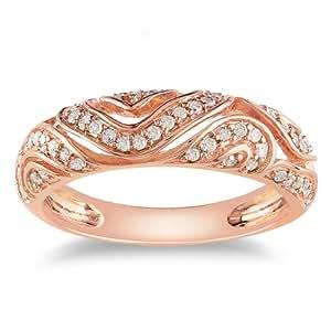 Delmar UK - Anillo de oro rosa con diamante