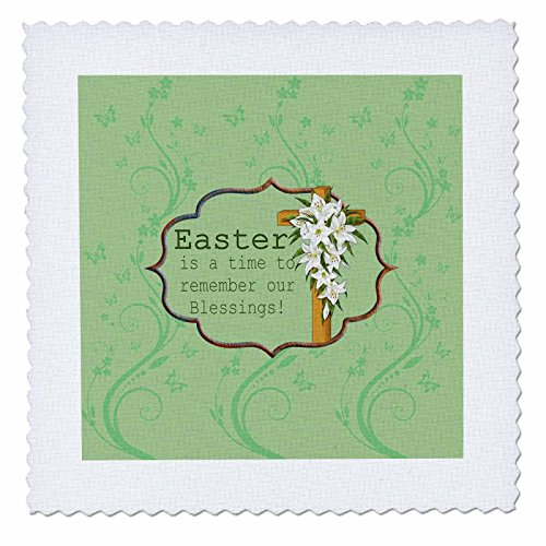 Easter Lily Vine - 3dRose Beverly Turner Easter Design and Photography - Easter is a time to remember our Blessings, Cross, Lilies, Vine Design - 10x10 inch quilt square (qs_276168_1)