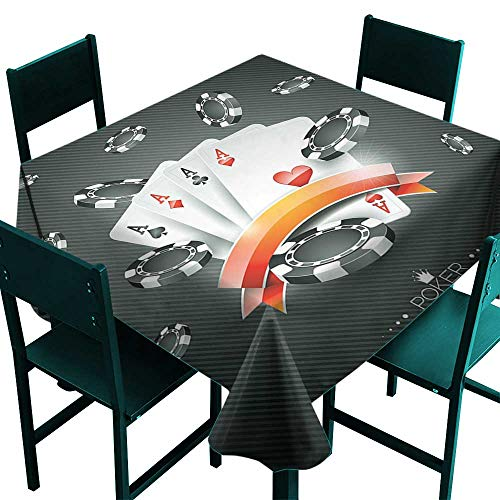 Warm Family Poker Tournament Decorations Restaurant tableclothArtistic Display Spread Chips with Poker Cards Lifestyle for Kitchen Dinning Tabletop Decoration W36 x ()