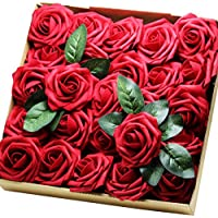 25-Piece Artificial Flowers Real Touch Fake Latex Rose Flowers Home Decorations