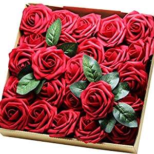 Artificial Flowers Real Touch Fake Latex Rose Flowers Home Decorations DIY for Bridal Wedding Bouquet Birthday Party Garden Floral Decor - 25 PCs 3