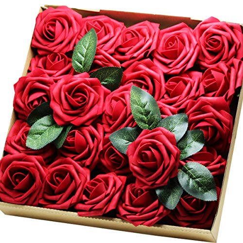 YOUR GIFT Your Deco Flowers Bridal DIY Bouquet Real Touch Artificial Roses 25 Pcs Hotel/Wedding Floral/Garden Craft Baby Shower Home Decor (red)