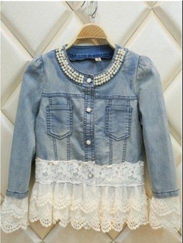 Jeans Jacket Women Casacos Feminino Slim Lace Patchwork Beading Denim Lady Elegant Vintage Jackets Coat Size:M