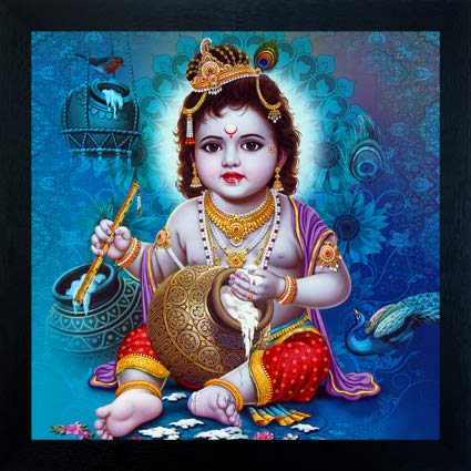 Madhav Art Lord Radha Krishna Painting Digitally Printed Classic Creative  and Decorative Photo Frame/God Krishna Religious Digital Images for (30cm x