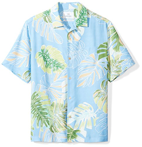 28 Palms Men's Relaxed-Fit 100% Silk Hawaiian Shirt, Sky Blue Banana Leaf, X-Large