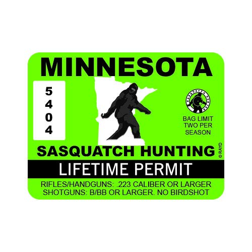 "RDW Minnesota Sasquatch Hunting Permit - Color Sticker - Decal - Die Cut - Size: 4.00"" x 3.00"""
