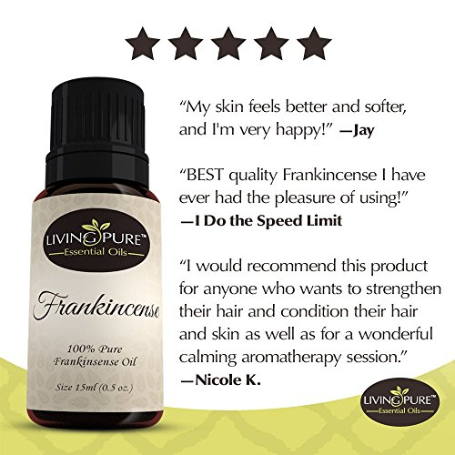 Living Pure Frankincense Essential Oil | 100% Natural & Organic | Therapeutic Grade Oils | Use Topically or in Diffuser | Perfect for Aging Skin, Healing Cuts, Eczema & Poison Ivy Relief
