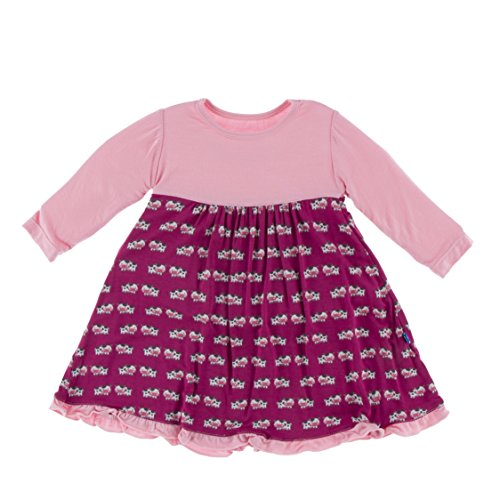 KicKee Pants Little Girls Solid Classic Long Sleeve Swing Dress, Berry Cow, 4T