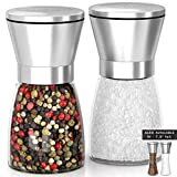 SALE! Quality Salt and Pepper Grinder Set Adjustable and Easy To Use! Stainless Steel Salt and Pepper Mill set, Large Capacity Thick Glass Body And Adjustable Ceramic Rotor. (5.2'' tall)