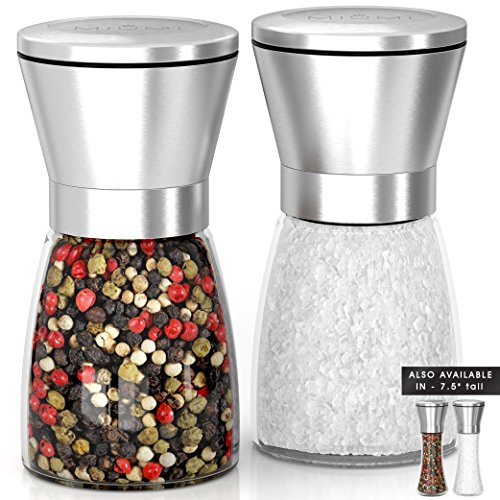 SALE! Quality Salt and Pepper Grinder Set Adjustable and Easy To Use! Stainless Steel Salt and Pepper Mill set, Large Capacity Thick Glass Body And Adjustable Ceramic Rotor. (5.2'' tall) by MIUMI
