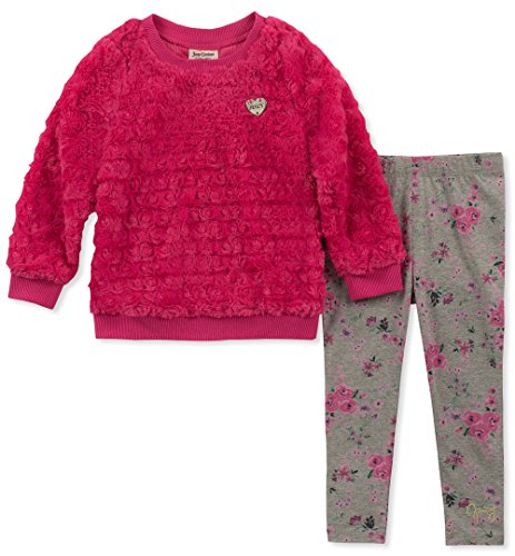- Juicy Couture Baby Girls 2 Pieces Tunic Legging Set-Faux Fur, Fuchsia/Print, 18M