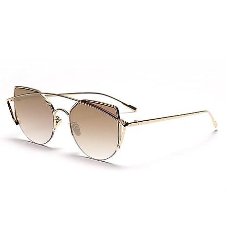 Z&YQ Occhiali da sole stile vintage Montatura in metallo fashion Occhiali da viaggio anti-UV unisex, F
