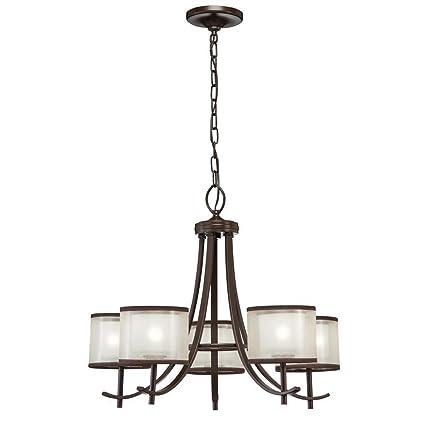 Hampton bay 89547 5 light bronze ceiling chandelier with organza hampton bay 89547 5 light bronze ceiling chandelier with organza shade aloadofball Choice Image