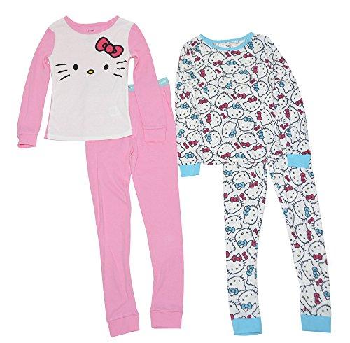 Hello Kitty Pj (Hello Kitty Big Girls' 4Pc Cotton Sleepwear Set with Doorknob Hanger, Multi,)