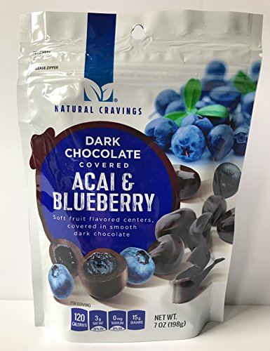 Chocolate Covered Blueberries and Acai Berries (2 Packs) - Two 7 oz Packages of Delicious Dark Chocolate Covered Blueberry and Acai Berries - GREAT VALUE! by Natural Cravings (Image #1)