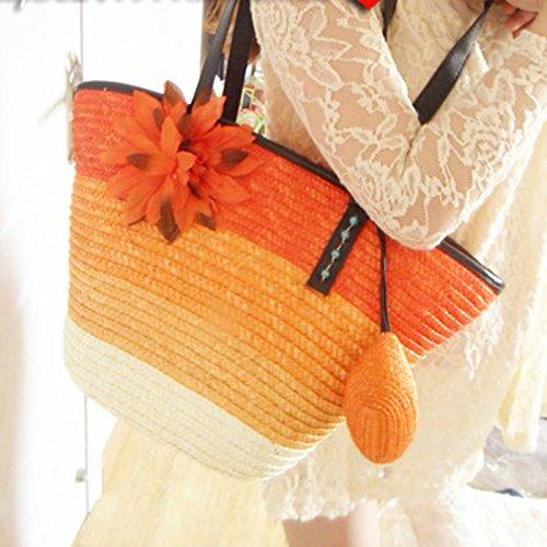 Women Summer Orange Rainbow Sea Bag DELEY Flower Fashion Shoulder Holiday Handbag Straw Totes Beach Xpxwqfa