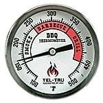 Tel Tru BQ300 Barbecue Thermometer 3 inch aluminum zoned dial 4 inch stem 100 500 degrees F