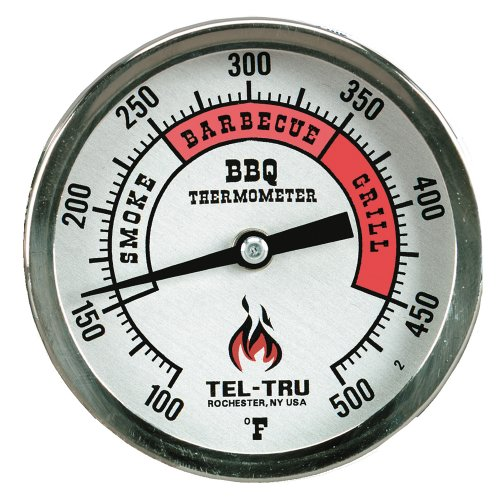 Thermometer Aluminum (Tel-Tru BQ300 Barbecue Thermometer, 3 inch aluminum zoned dial, 2.5 inch stem, 100/500 degrees F)