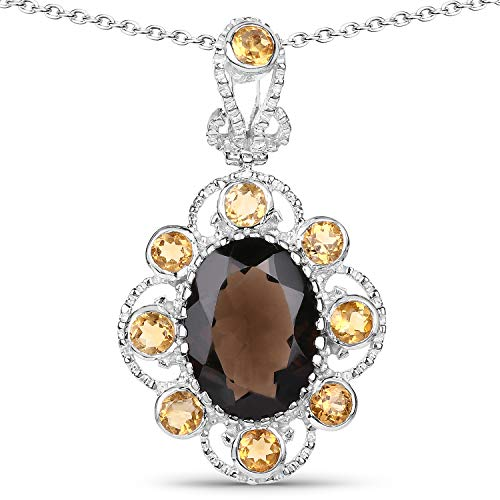 Bonyak Jewelry Genuine Oval Smoky Quartz and Citrine Pendant in Sterling Silver