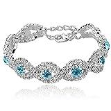 Long Way Women\'s Silver Plated Rhinestone Bracelets (Blue)