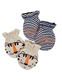 Gerber Baby Boy's Baby 2pk Mittens Boy Tiger Accessory, Beige, 0-3 months
