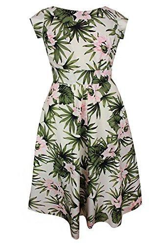 Neu Damen Creme Grün Blumenmuster Übergröße Midi Kleid ...