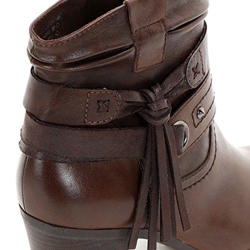 Alesya Scarpe&Scarpe - Stiefeletten mit Absatz, Doppelten Riemchen und Kleiner Quaste, Leder, mit Absätzen 7 cm - 39,0, Braun