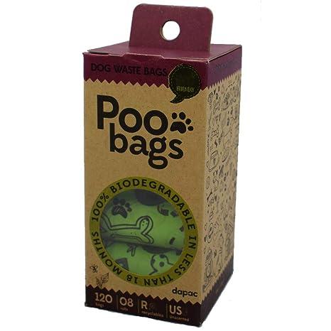Poo Bags, Bolsas 100% biodegradables Perro, 120 Bolsas Caca ...