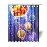 InterestPrint Outer Space Decor Shower Curtain, Space Solar System Universe Fabric Bathroom Shower Curtain Set with Hooks, 60x72 Inches Long