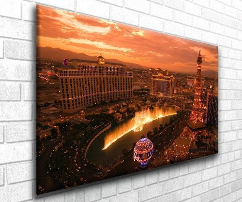 Las Vegas Nevada At Dusk Stunning Canvas Art Print - Framed Ready to Hang - Range of Sizes, 24 inch x 40 inch by Cityscape Canvas