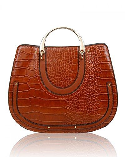 LeahWard? Ladies Women's Fashion Designer Patent Croc Print Faux Leather Tote Bag Quality Trendy Shinny Cross Body Bags Handbag CWS00273 CWBR0264 BROWN GRAB BAG