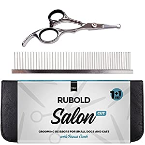 RUBOLD Small Dog Grooming Scissors - Professional Rounded Tip Sharp Shears with Pet Grooming Comb in Kit - Best Tools for Trimming Body Face Ear Nose and Paw of Every Dog and Cat Salon Cut 1+1 Set