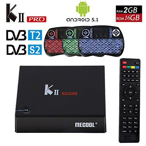 DVB S2 T2 Android TV Box,MaQue KII PRO 2GB 16GB DVB-T2 DVB-S2 Android 5.1 Amlogic S905 Quad-core WIFI K2 pro 4K Smart TV Box with Backlit Keyboard