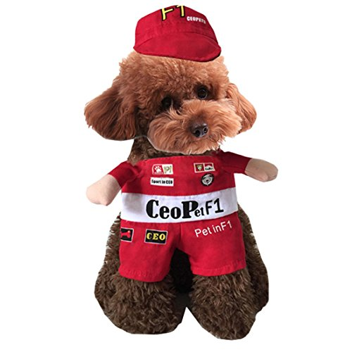 F1 Racing Suit Costume (Funny Pirate Nurses Dog Pet Hoodie Clothes Soldier Taekwondo Doctor F1 Cowboy Halloween Dog Costume Plus Size Suit)