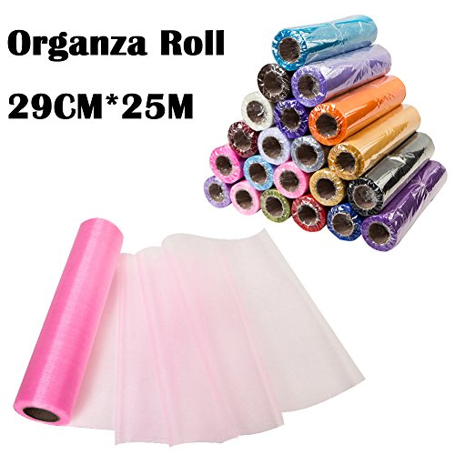 Meijuner 29CM Width X 25M Length Organza Roll Sashes Fabric Table Runner Chair Sashes Bow For Decoration (Pink)