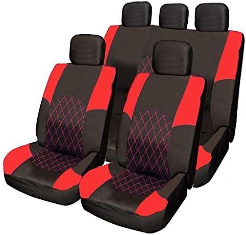 Wheels N Bits Kia Ceed Optima Sportage Carens Rio RED /& BLACK Cloth Seat Cover Set Split Rear Seat