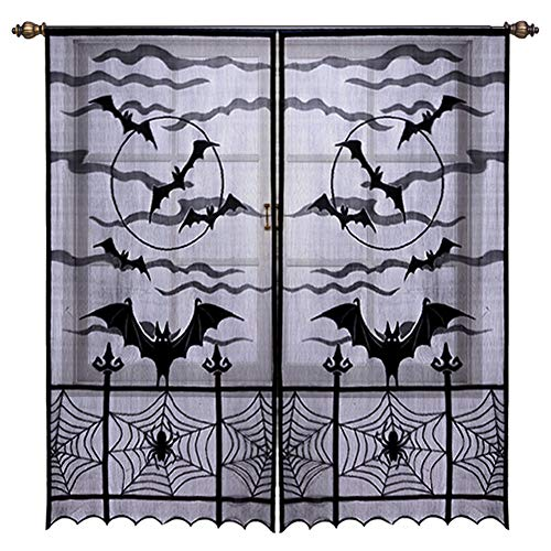 Hokic Black Lace Window Curtain, 40 x 84 inch,