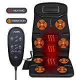 Naipo Vibrating Car Seat Cushion Cover Massager for Back, Neck, and Thigh with 8 Motor Vibrations 4 Modes 3 Speed Heating at Home Office Car (Thickened Type)