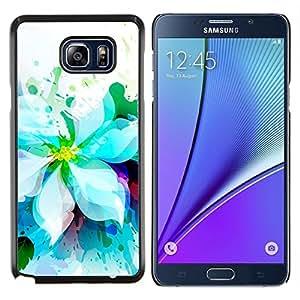 YiPhone /// Prima de resorte delgada de la cubierta del caso de Shell Armor - Blanco Jardín de flores de la acuarela Arte Dibujo - Samsung Galaxy Note 5 5th N9200