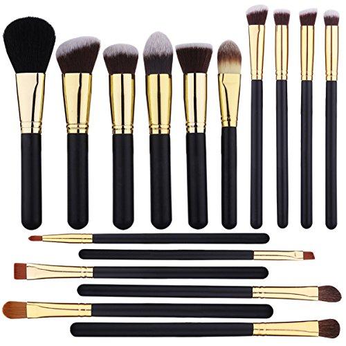 Makeup Brushes EMOCCI Professional Make Up Brush Premium Synthetic Brithles for Face Powder Blush Foundation Blending Eyeshadow Concealer Cosmetic Brush Set Kits(16pcs Gold Black)