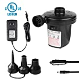 GARDOM Electric Air Pump, 100-240V AC/12V DC Air Mattress Pump for Home & Car Use, Portable Inflator Deflator Air Pump with 3 Nozzles for Inflatables Pool Raft Floats Bed Toys (US Adaptor)