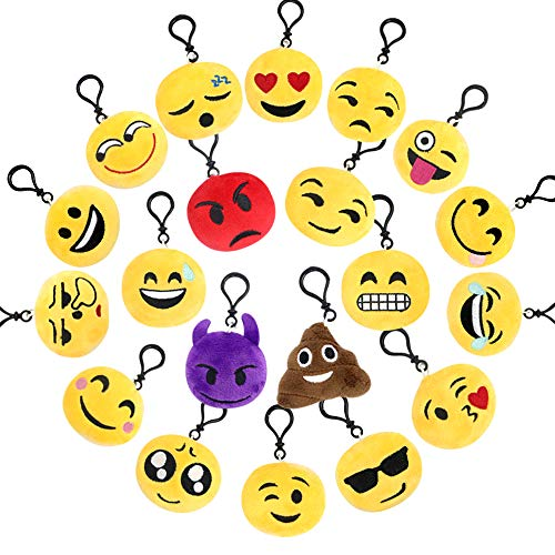 (BUDI 20 Pcs Emoji Plush Pillow Keychain Kids Party Supplies Favors Car Cute Key Ring Pendant Set of 20)