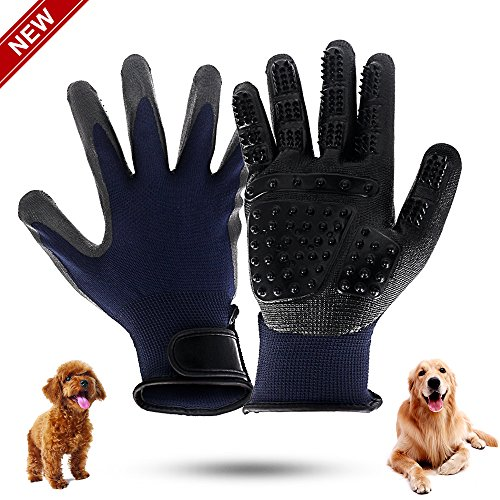 JUNMAO 2 Pack Pet Grooming Gloves, Hair Remover Brush Gloves for Pet Grooming Clean Massage,Efficient Pet Hair Remover Mitt Perfect for Dogs/Cats/Small Pets/Livestock/Horse